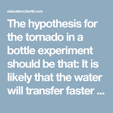 The Hypothesis For The Tornado In A Bottle Experiment Should
