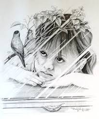 window pencil drawing. children drawing - bird in the window by bob patterson pencil l