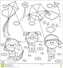 Bambini Che Pilotano La Pagina Del Libro Da Colorare Degli Aquiloni