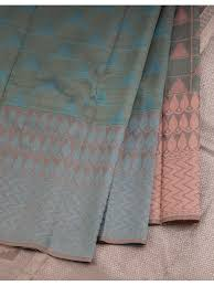 <b>Blue</b> Checked Silk Saree With Thread Worked Gopuram <b>Pattern</b> And ...