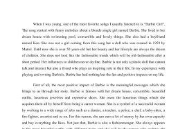 persuasive essay defending barbie gcse english marked by  document image preview
