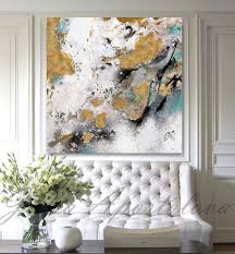 zoom on large white and gold wall art with gold leaf painting black white gold art abstract print