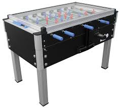 table glass top. roberto sport export football table - glass top black