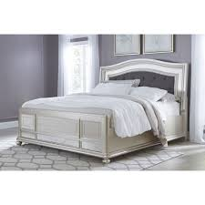 Ashley Furniture Coralayne King Panel Bed in Silver