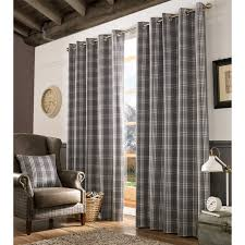 Living Room Ready Made Curtains Archie Fully Lined Eyelet Curtains Ready Made Heavy Tartan Check