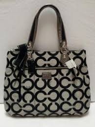 COACH Signature Large Poppy Op Art Glam Tote Bag Black