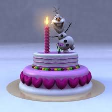 3d Model Birthday Cake With Frozen Snow Man Cgtrader