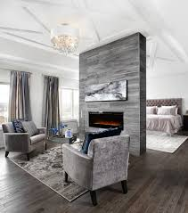 Fireplace Seating In Master Bedroom Design Ideas Also Permanent Room Divider