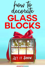diy glass block decorated blocks with lights and vinyl including a free design for pretty snowy diy glass block