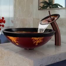 bowl bathroom sinks. VIGO Auburn/Mocha Fusion Glass Vessel Sink And Waterfall Faucet Set In Oil Rubbed Bronze Bowl Bathroom Sinks O