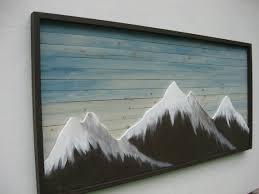 painting mountain wall art on reclaimed