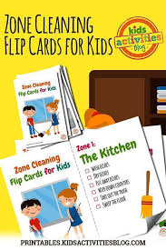 Zone Cleaning Chart For Kids Zone Cleaning Chore Chart Flip Cards For Kids Good Ideas