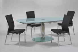 extendable rounded frosted gl top leather modern dining set with leaf