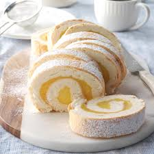 Moist Lemon Angel Cake Roll Recipe Taste Of Home
