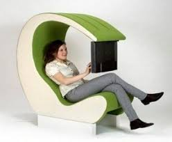 office chair with speakers. high tech chair for multimedia office with fresh green color speakers