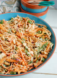 asian vegetable noodle salad with y peanut sauce