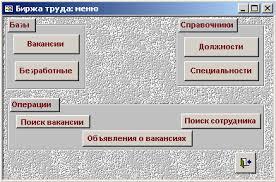 База данных Биржа труда Курсовая работа на ms access  База данных quot Биржа труда quot