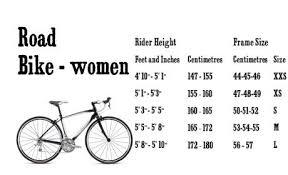 Womens Road Bike Size Chart