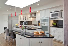red pendant light Kitchen Contemporary with bar stool bay area. Image by:  HOUSEworks DesignBuild General Contractor