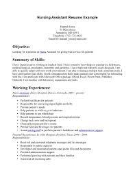 Nursing Assistant Resume Example Cna Job Description Resume