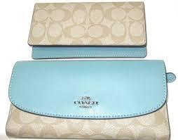 Coach F57319 Signature PVC Checkbook Wallet Large Clutch Light Khaki  Aquamarine