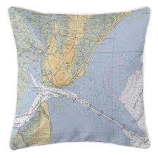Ga Saint Simons Island Ga Nautical Chart Pillow Island
