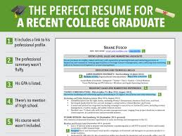 Recent College Graduate Resume Excellent Resume For Recent Grad Business Insider Recent College 4