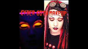 uv cyber goth red black cut crease makeup tutorial you