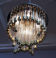 mid century modern chrome and glass chandelier