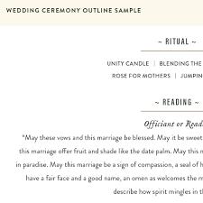 Wedding Ceremony Outline Sample Eventi Weddings