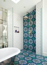 showers without glass bathroom with walk in showers without door with white tiles blue patterned small