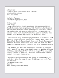 Online Application Cover Letter Samples Cover Letter Sample For Va Virtual Assistant Upwork Help