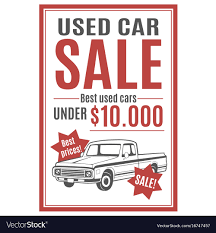 Template For Used Car Sale Royalty Free Vector Image