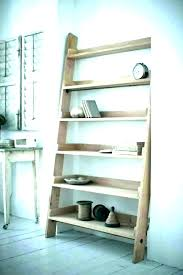 ladder shelf wall shelves pegs locking with wooden leaning allen roth