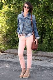 How To Wear Light Pink Pants What I Wore Running Around Pink Pants Outfit Pink Jeans