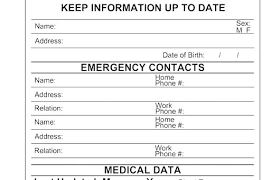 Emergency Contact Card Template Information List Employee Form