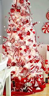 Tall Indoor Pine Tree Combined Red Ribbon And Hanging Christmas Red Silver And White Christmas Tree