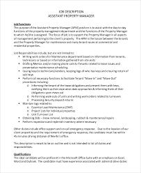 Property Manager Job Description Samples Sample Property Manager Job Description 9 Examples In Pdf