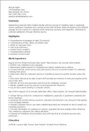 Resume Templates: Comcast Cable Installer