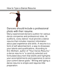 Dance Resume For College Audition Resume For Your Job Application
