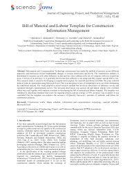 Bill of quantities excel template. Http Sciendo Com Downloadpdf Journals Jeppm 11 1 Article P52 Pdf