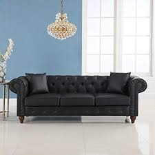 chesterfield sofa. Contemporary Sofa Classic Scroll Arm Chesterfield Sofa  Bonded Leather Black Inside