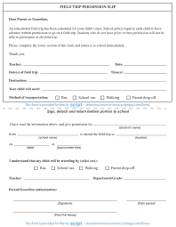 Field Trip Permission Slip Script