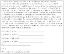Apartment Lease Agreement – Sample Leases