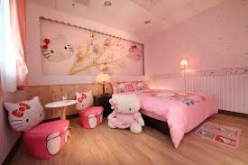 hello kitty furniture for teenagers. fashionable girls bedroom interior design with hello kitty furniture set and wallpaper also pink bed cover rug on laminate floor for teenagers