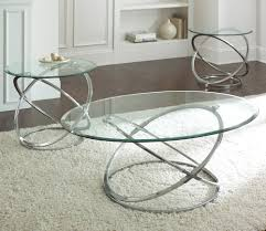 steve silver orion 3 piece glass top coffee table set w chrome base beyond s