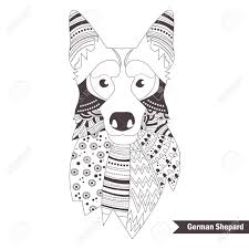 German Shepherd Coloring Book For Adult Antistress Coloring Pages Hand Drawn Vector Isolated Illustration On White Background Henna Mehendi
