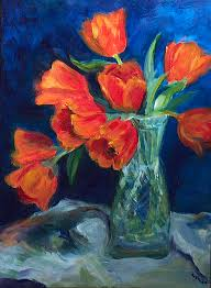 tulips painting red tulips in a glass vase by nanci cook