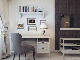 Fascinating Room With Classy Home Decor Of White Wall Decoration Also Study  Table Plus Hanging Shelf Also Cool Table Lamp Also Grey Chair