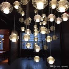g4 famous brand led crystal glass ball pendant meteor rain ceiling light meteoric shower stair bar droplight chandelier lighting ac110 240v crystal